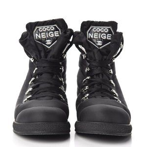 CHANEL COCO NEIGE BLACK CC SHORT LACE UP BOOTS